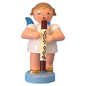Weihnachtsengel Engel - blaue Flügel - klein Engel mit Didgeridoo - Blaue Flügel - stehend - 6cm
