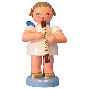 Weihnachtsengel Engel - blaue Flügel - groß Engel mit Didgeridoo - Blaue Flügel - stehend - 9,5 cm