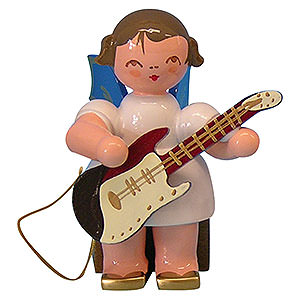 Weihnachtsengel Engel - blaue Fl�gel - klein Engel mit E-Gitarre - Blaue Fl�gel - sitzend - 5cm