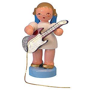 Weihnachtsengel Engel - blaue Flügel - klein Engel mit E-Gitarre - Blaue Flügel - stehend - 6cm