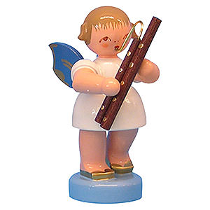Weihnachtsengel Engel - blaue Flügel - klein Engel mit Fagott - Blaue Flügel - stehend - 6cm