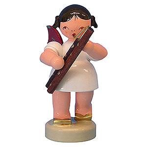 Weihnachtsengel Engel - rote Fl�gel - klein Engel mit Fagott - Rote Fl�gel - stehend - 6cm