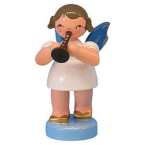 Weihnachtsengel Engel - blaue Flügel - klein Engel mit Flöte - Blaue Flügel - stehend - 6 cm