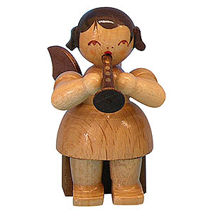 Weihnachtsengel Engel - natur - klein Engel mit Flöte - natur - sitzend - 5 cm