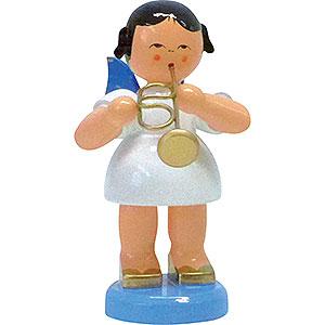 Weihnachtsengel Engel - blaue Flügel - groß Engel mit Flügelhorn - Blaue Flügel - stehend - 9,5 cm
