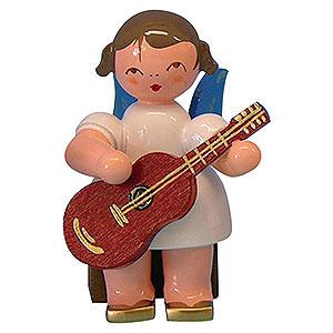 Weihnachtsengel Engel - blaue Fl�gel - klein Engel mit Gitarre - Blaue Fl�gel - sitzend - 5cm