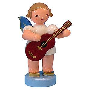 Weihnachtsengel Engel - blaue Flügel - klein Engel mit Gitarre - Blaue Flügel - stehend - 6cm