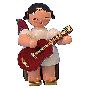 Weihnachtsengel Engel - rote Fl�gel - klein Engel mit Gitarre - Rote Fl�gel - sitzend - 5cm