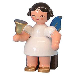 Weihnachtsengel Sonstige Engel Engel mit Glocke - Blaue Flügel - sitzend - 6cm