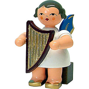 Weihnachtsengel Engel - blaue Flügel - klein Engel mit Handharfe - Blaue Flügel - sitzend - 5cm
