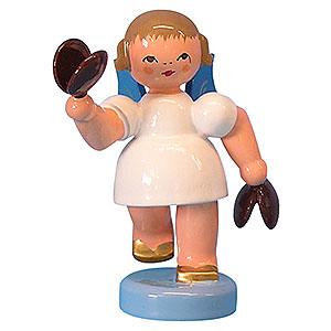 Weihnachtsengel Engel - blaue Fl�gel - klein Engel mit Kastagnetten - Blaue Fl�gel - stehend - 6cm