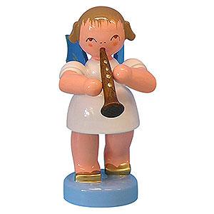 Weihnachtsengel Engel - blaue Flügel - klein Engel mit Klarinette - Blaue Flügel - stehend - 6cm