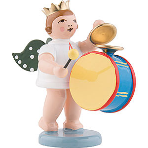 Weihnachtsengel Orchester mit Krone (Ellmann) Engel mit Krone und großer Trommel mit Becken - 6,5 cm