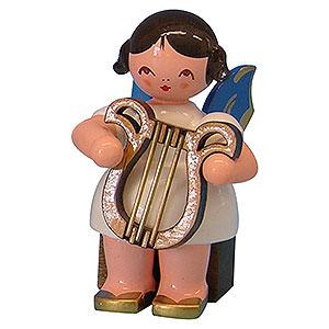 Weihnachtsengel Engel - blaue Fl�gel - klein Engel mit Leier - Blaue Fl�gel - sitzend - 5cm