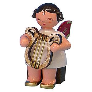 Weihnachtsengel Engel - rote Flügel - klein Engel mit Leier - Rote Flügel - sitzend - 5cm