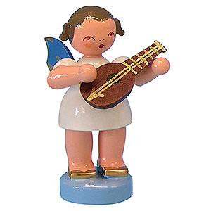 Weihnachtsengel Engel - blaue Flügel - klein Engel mit Mandoline - Blaue Flügel - stehend - 6cm