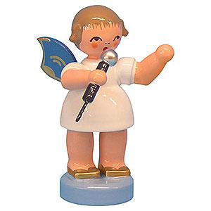 Weihnachtsengel Engel - blaue Flügel - klein Engel mit Mikrofon - Blaue Flügel - stehend - 6cm