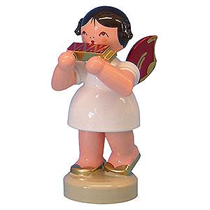 Weihnachtsengel Engel - rote Flügel - klein Engel mit Mundharmonika - Rote Flügel - stehend - 6cm
