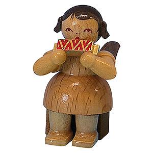 Weihnachtsengel Engel - natur - klein Engel mit Mundharmonika - natur - sitzend - 5cm