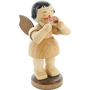 Weihnachtsengel Engel - natur - groß Engel mit Mundharmonika - natur - stehend - 9,5cm