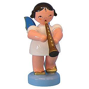 Weihnachtsengel Engel - blaue Flügel - klein Engel mit Oboe - Blaue Flügel - stehend - 6cm