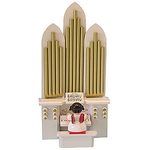 Weihnachtsengel Engel - rote Flügel - klein Engel mit Orgel - Rote Flügel - stehend - 6cm
