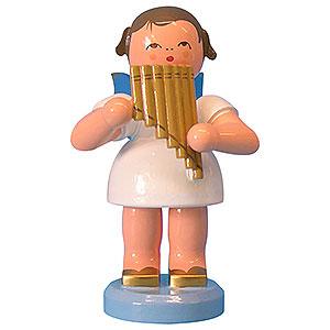 Weihnachtsengel Engel - blaue Flügel - groß Engel mit Panflöte - Blaue Flügel - stehend - 9,5cm