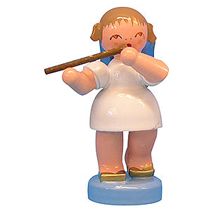 Weihnachtsengel Engel - blaue Flügel - klein Engel mit Querflöte - Blaue Flügel - stehend - 6cm