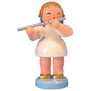 Weihnachtsengel Engel - blaue Flügel - groß Engel mit Querflöte - Blaue Flügel - stehend - 9,5cm