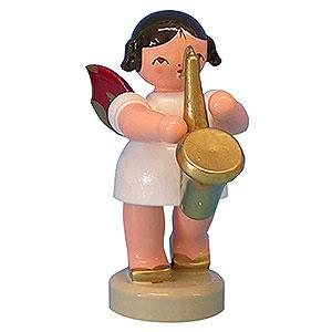 Weihnachtsengel Engel - rote Flügel - klein Engel mit Saxophon - Rote Flügel - stehend - 6cm