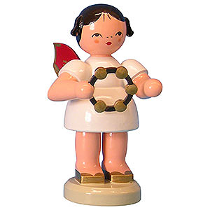 Weihnachtsengel Engel - rote Flügel - groß Engel mit Schellenring - Rote Flügel - stehend - 9,5cm
