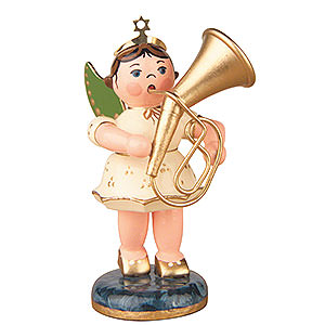Weihnachtsengel Orchester (Hubrig) Engel mit Tenorhorn - 6,5cm