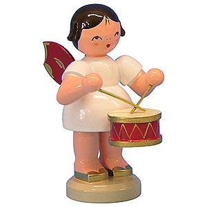 Weihnachtsengel Engel - rote Flügel - groß Engel mit Trommel - Rote Flügel - stehend - 9,5 cm