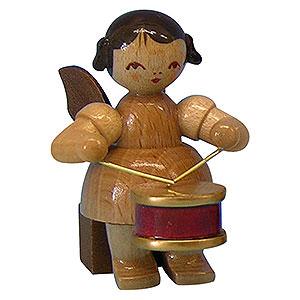 Weihnachtsengel Engel - natur - klein Engel mit Trommel - natur - sitzend - 5cm