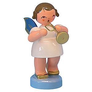 Weihnachtsengel Engel - blaue Flügel - klein Engel mit Trompete - Blaue Flügel - stehend - 6cm