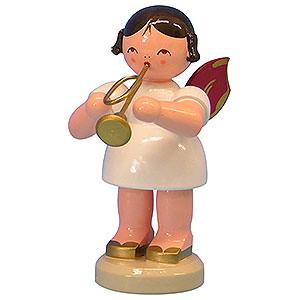 Weihnachtsengel Engel - rote Flügel - groß Engel mit Trompete - Rote Flügel - stehend - 9,5cm