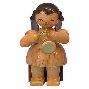 Weihnachtsengel Engel - natur - klein Engel mit Trompete - natur - sitzend - 5 cm