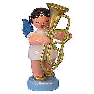 Weihnachtsengel Engel - blaue Flügel - klein Engel mit Tuba - Blaue Flügel - stehend - 6 cm