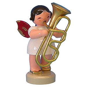 Weihnachtsengel Engel - rote Flügel - klein Engel mit Tuba - Rote Flügel - stehend - 6 cm