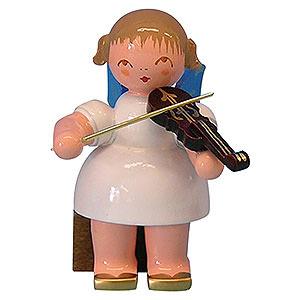 Weihnachtsengel Engel - blaue Flügel - klein Engel mit Violine - Blaue Flügel - sitzend - 5cm