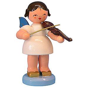 Weihnachtsengel Engel - blaue Flügel - groß Engel mit Violine - Blaue Flügel - stehend - 9,5cm