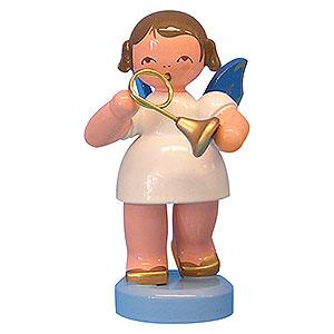 Weihnachtsengel Engel - blaue Flügel - klein Engel mit Waldhorn - Blaue Flügel - stehend - 6cm