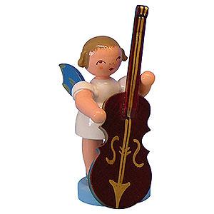 Weihnachtsengel Engel - blaue Flügel - klein Engel mit Zupfbass - Blaue Flügel - stehend - 6cm