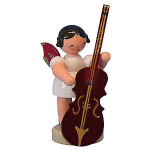 Weihnachtsengel Engel - rote Flügel - klein Engel mit Zupfbass - Rote Flügel - stehend - 6cm