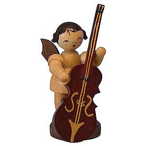 Weihnachtsengel Engel - natur - klein Engel mit Zupfbass - natur - stehend - 6cm
