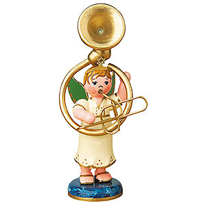 Weihnachtsengel Orchester (Hubrig) Engelbub mit Sousaphon - 6,5cm