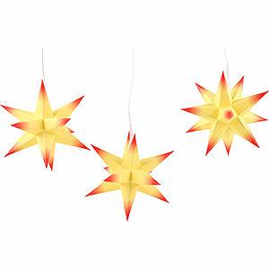 NEUHEITEN Erzgebirge-Palast Adventsstern 3er-Set gelber Kern, rote Spitzen - 17cm