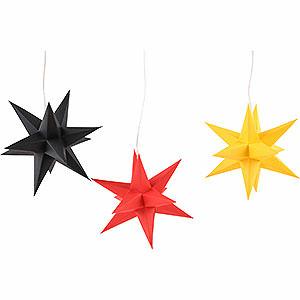 Adventssterne und Weihnachtssterne Erzgebirge-Palast Sterne Erzgebirge-Palast Adventsstern 3er-Set schwarz-rot-gold Deutschland-Set - 17 cm