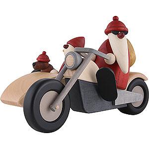 Kleine Figuren & Miniaturen Björn Köhler Weihnachtsmänner kl. Familienausfahrt auf Motorrad - 11cm