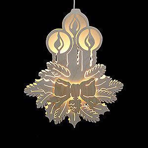 Lichterwelt Fensterbilder Fensterbild - Drei Kerzen - Durchm. 30,5 cm